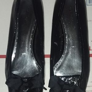 Merona Black Patent Flats Fabric Bow 11B/41